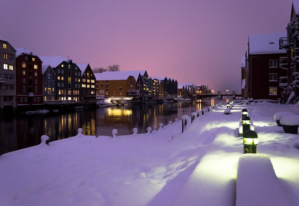 Winter view of the brygge in Trondheim